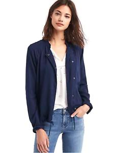 Gap Women/'s Tencel Drapey Drawstring Jacket sz XL Navy #528031