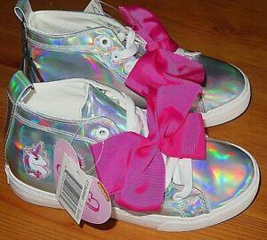 NWT Jojo Siwa Iridescent Bow Shoes High Tops Size 13