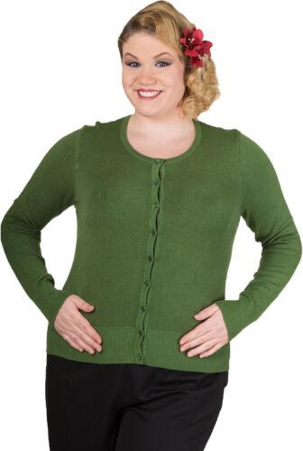 Banned Getaway VINTAGE Plain 50s Basic Cardigan maglia giacca verde Rockabilly