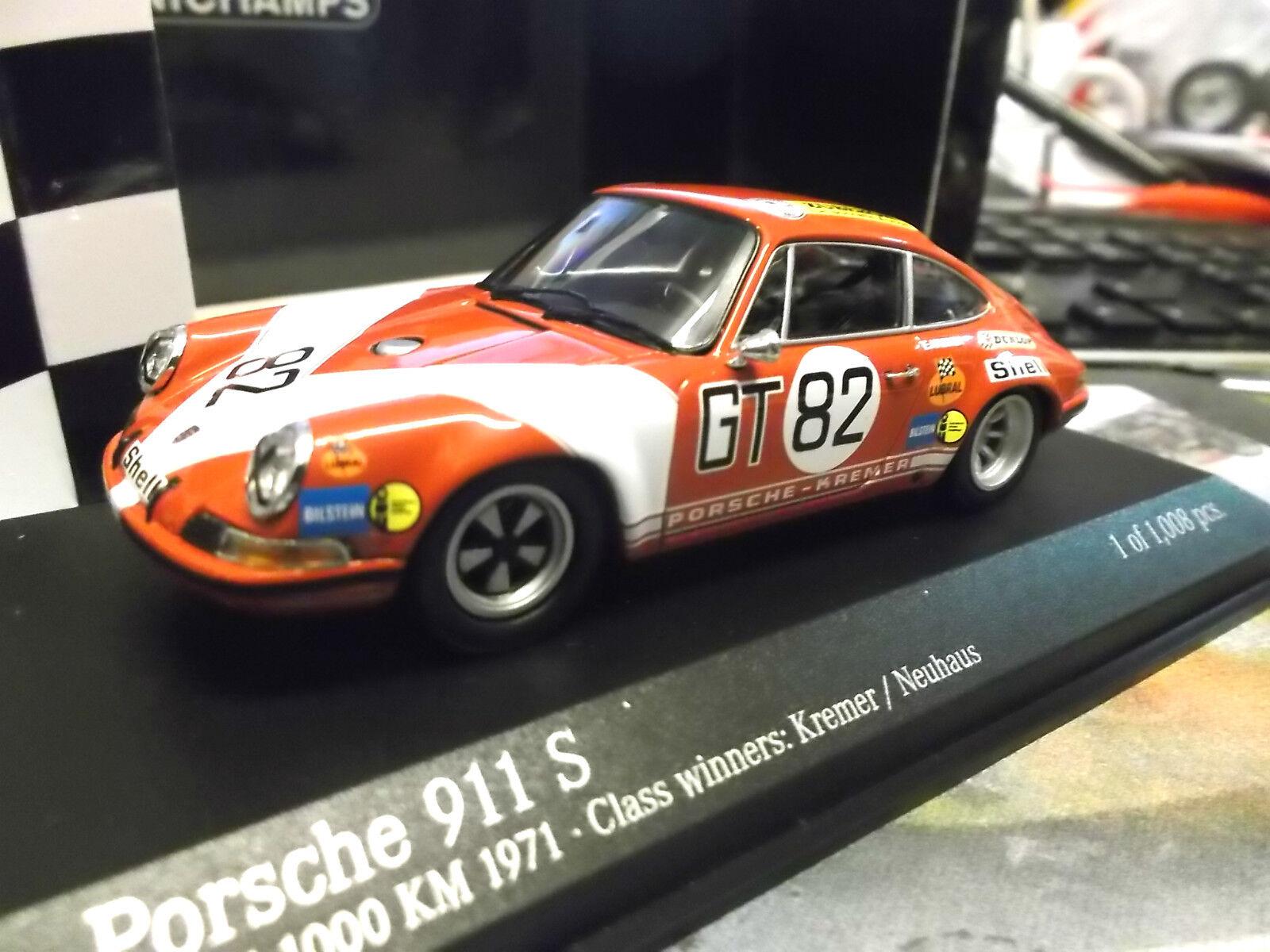 PORSCHE 911 S RACING 1000km  82 NURBURGRING Neuhaus Kremer 1971 Minichamps 1:43