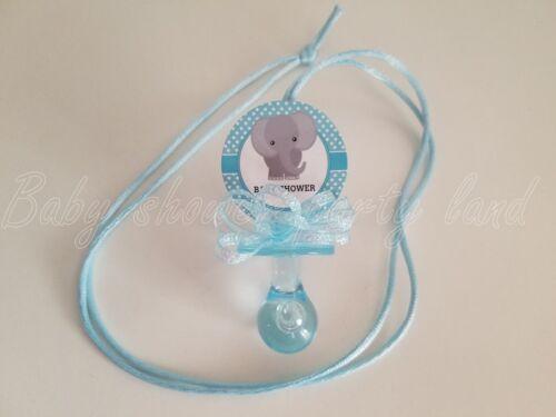 12 Elephant Pacifier Necklaces Baby Shower Favors Blue It/'s a Boy Games Prizes