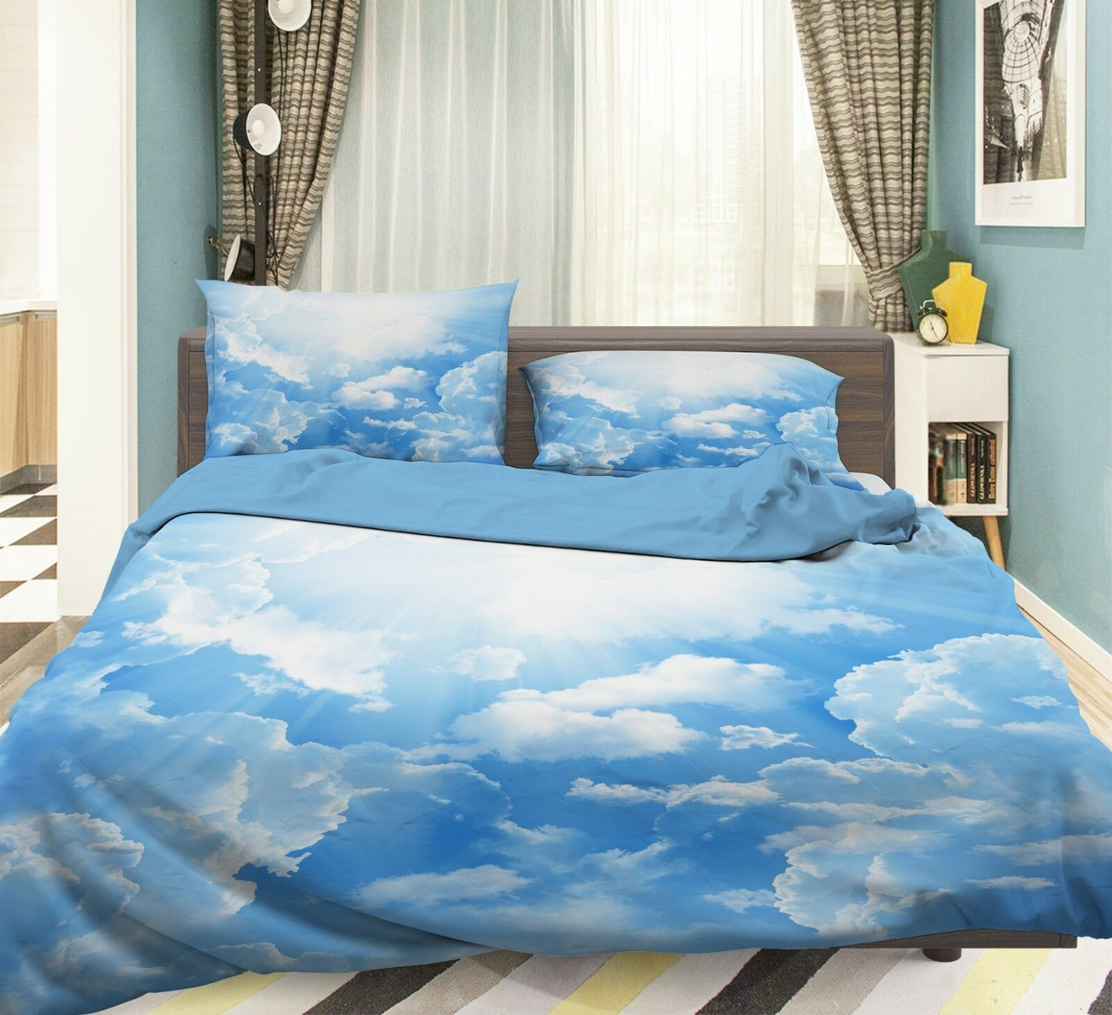 3D Himmel Weiße Wolken 56 Bett Kissenbezüge steppen Duvet Decken Set Single DE