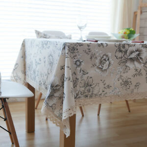 eBay & Details about Linen Party Lace Table Cloth Decoration Covers Dinner Decor Rectangle Sets