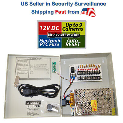 Pigtail m3t 9CH CCTV Security Camera 12V DC Power Supply Distributed Switch Box