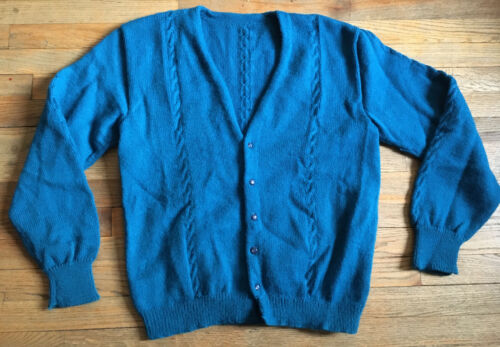 VTG 50s Acrylic Knit Cardigan, Cable Knit Accent,