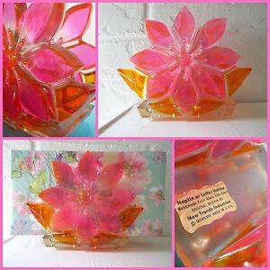 VTG 1960s Retro Groovy MOD Lucite Flower Power Napkin Letter Holder Pink Orange