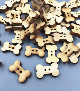 100pcs-Wooden-Dog-Bone-Buttons-Natural-color-Sewing-Scrapbooking-Craft-18mm