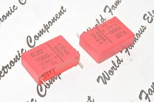 2pcs-WIMA-MKS4-0-22uF-0-22-F-220nF-1000V-5-pitch-27-5mm-Polyester-Capacitor