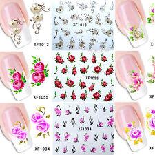 50 Blatt Blumen Nail Art Transfer Aufkleber 3D Maniküre DIY Nagel Dekor Beauty