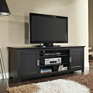 Walker Edison 70 Wood Tv Stand Console With Sliding Doors In Black