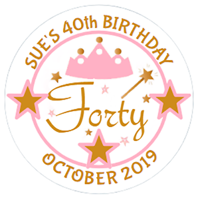 48 Pegatinas de bolsa de fiesta personalizado 1st Cumpleaños Dulce Bolsa Sellos Etiquetas 40mm