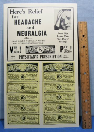 Headache Remedy Display Card /& Packets ~ Rx Drug 1930/'s