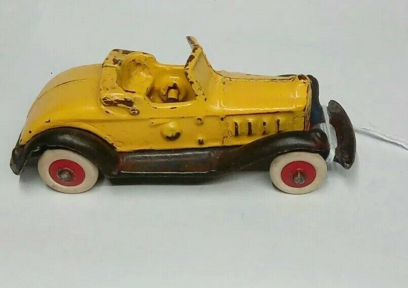 Giallo VINTA HUBLEY AC WILLIAMS TAKE APART CAST IRON SEDAN ROADSTER RUBBER TIRES