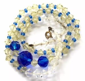 Vintage Sapphire Blue Lemon Citrine Faceted Crystal Glass Bead Necklace 16.5 ""