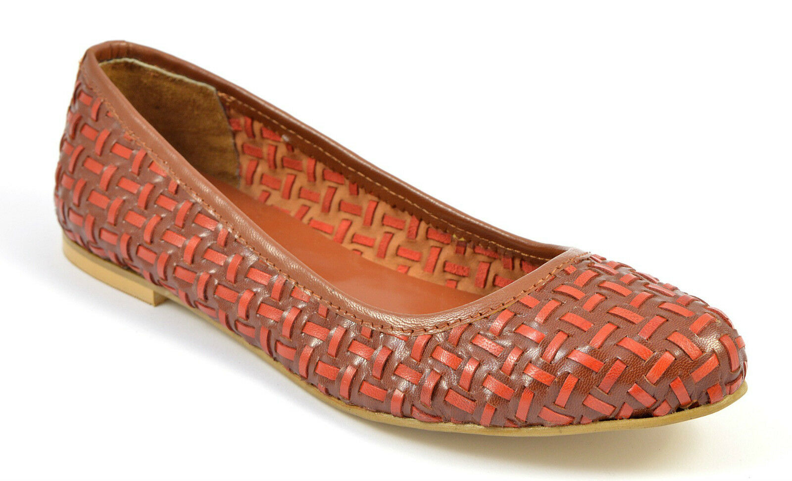 Womens Ladies Brown Woven Leather Pumps Ballerina Loafers Flats Tan Shoes Size