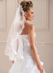 Bks 520 brautschleier spitze silber schleier hochzeit for Brautschleier ivory einlagig