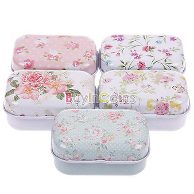 Flower Tin Candy Pill Gift Mini Jewelry Box MOZ Iron Lovely Fashion Storage Case