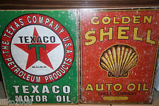 TEXACO/SHELL MOTOR OIL/ GASOLINE SET OF 2  40X30CM  METAL WALL SIGNS OIL/PETROL