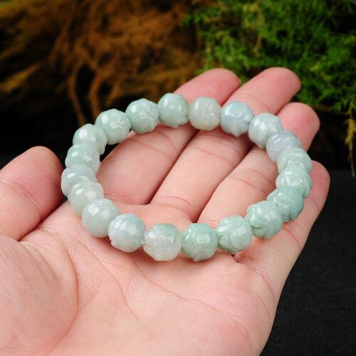 Fashion naturel grade A GREEN JADE JADEITE perles sculptée jolie Fleur Bracelet