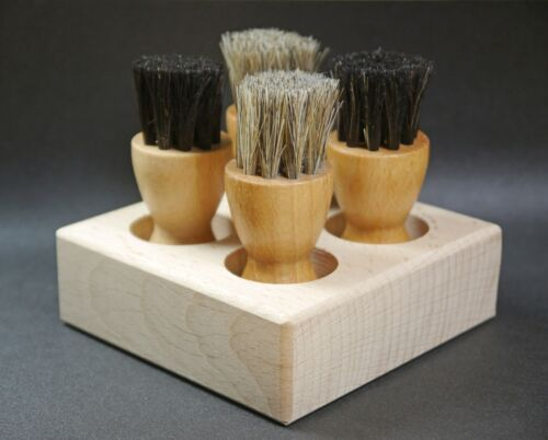 Caddy with 4 shoe cream brushes or empty w//o brushes  beechwood  Made in Germany