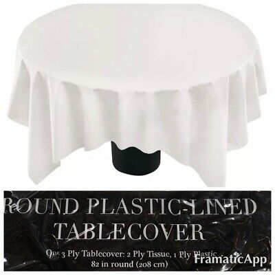 82 White Round Tablecloth Paper Tissue, Round Paper Table Covers White
