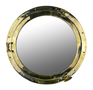 """24""""D Solid Brass Wall Mount Porthole Mirror Nautical Ship ..."""