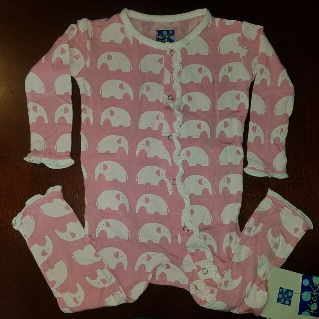 778cf7bc22f2 Kickee Pants Lotus Elephant Toddler Girl Ruffle Coverall 12-18 ...