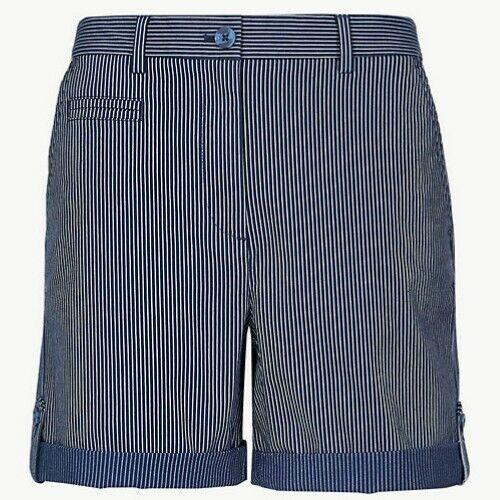 Ladies M/&S Striped Chino Shorts Navy /& White Sizes 8-24
