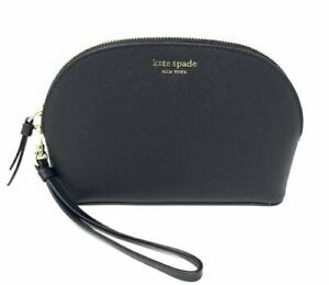 Kate-Spade-Cameron-Medium-Dome-Cosmetic-Makeup-Bag-Black-Leather-WLRU5443