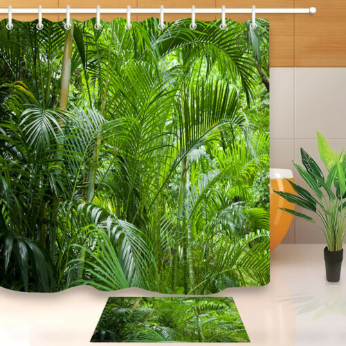 Tropical Green Jungle Palm Trees Polyester Fabric Shower Curtain Bathroom Hooks