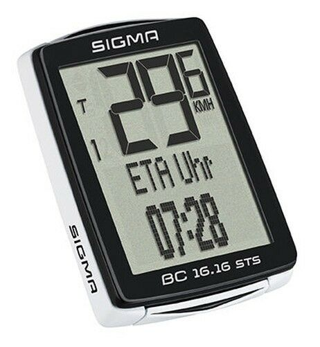 Sigma BC 16.16 Sts Wireless Cycle Computer/Tacho 16 Functions, White - 01617