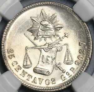 1890-Go-NGC-MS-65-Mexico-25-Centavos-Highly-Lustrous-Silver-Coin-18082303C