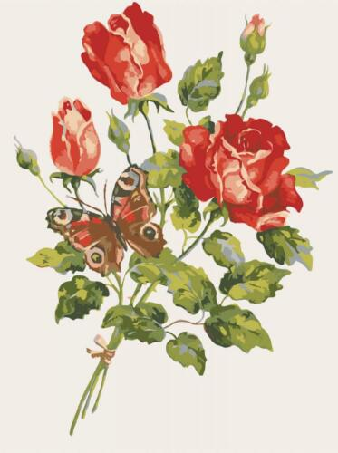 Red Roses /& Butterfly Grafitec Printed Tapestry//Needlepoint Canvas