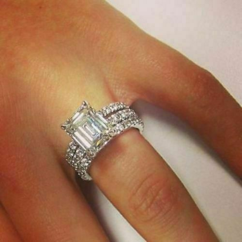 Details about  /3.30Ct Emerald Cut Diamond Sparkly Engagement Ring Trio Set in 14K White Gold