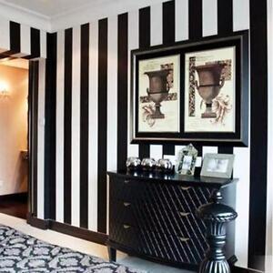 10m tapete schwarz und wei vertikal gestreift heim mode pvc ebay. Black Bedroom Furniture Sets. Home Design Ideas