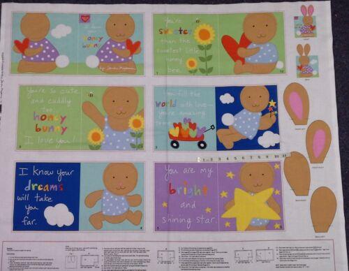 honey bunny pattern 3359P Adorable /& lovable livre panneau .100/% coton