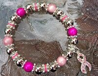 CANCER AWARENESS PINK RHINESTONE RIBBON SUPPORT STRETCH CHARM BRACELET ALL SIZES
