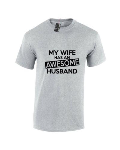 AWESOME HUSBAND T SHIRT FUNNY GIFT MENS JOKE SLOGAN WIFE NOVELTY TEE PRESENT