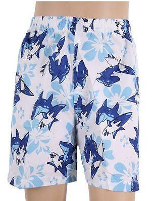 NEU Kinder Hawaii Badeshorts Jungen Badehose Bermuda Shorts Hai Blau 110/116