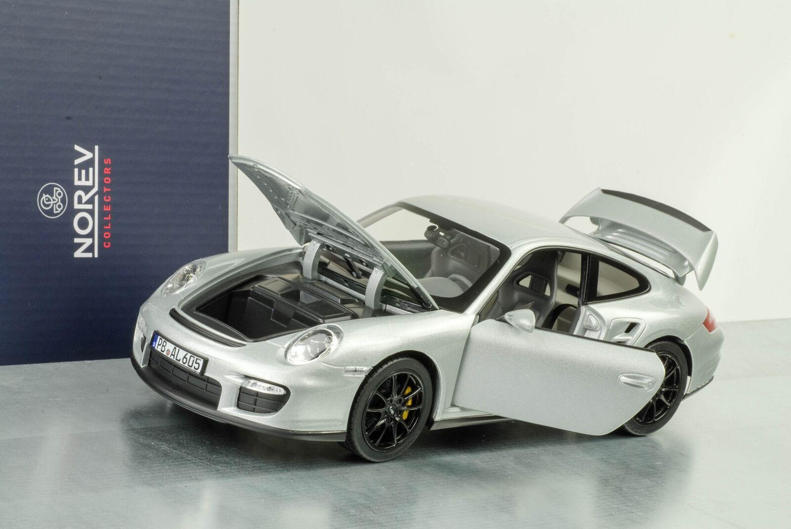 911 GT2 Porsche 997 GT2 argento Llantas nero 1 18 Norev 187594