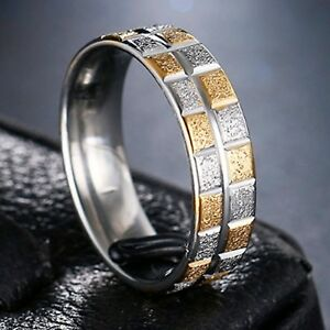 6mm-Stainless-Steel-Mens-amp-Womens-Wedding-Band-Silver-amp-Gold-Ring-Size-M-to-Y