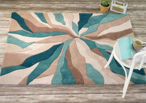 Flair Rugs Infinite Splinter Handtufted Rug Teal 120 X 170 Cm