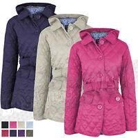 Ladies Womens Quilted Padded Hooded Hoody Rain Coat Jacket Fleece 8 - 14