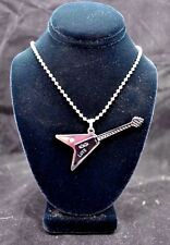 """Stainless Steel V-Guitar with Black coating & 30"""" bead chain"""