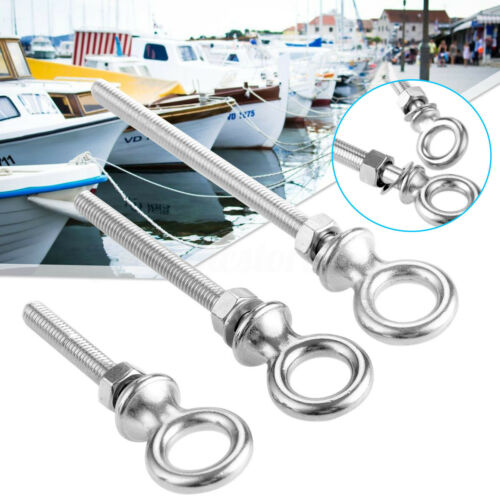 Stainless Steel Marine Grade Lifting Eye Bolts Long Shank Nut /& Washer M6 M8 M10