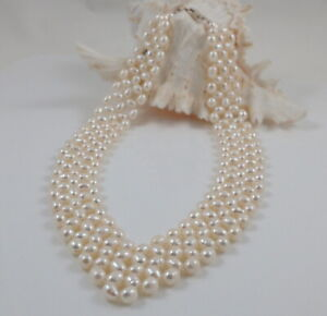 White Freshwater Pearl Collar Necklace Sterling Silver Clasp 18.5'' -20.5''