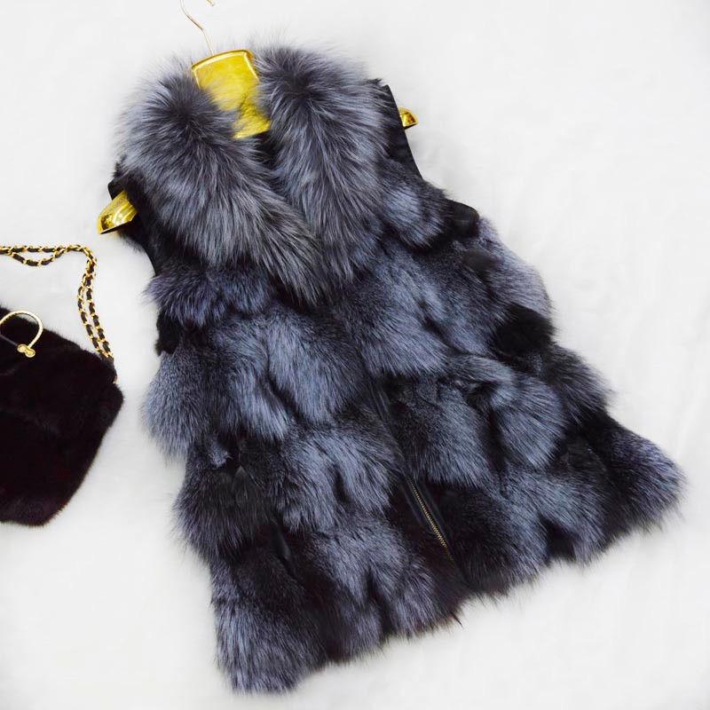 Echte Fuchspelz Lange Weste Gilet Frauen Gute Qualität Weste Kragen Plus Größe | Günstige Bestellung  | Bunt,  | Geeignet für Farbe  | Kaufen Sie beruhigt und glücklich spielen  | Niedriger Preis
