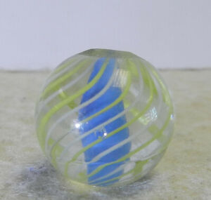 #12837m Vintage German Handmade Caged Blue Solid Core Swirl Marble .70 In