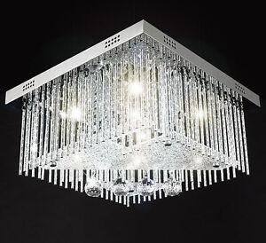Farbwechsel-LED-40x40cm-Kristall-Wohnzimmer-Deckenleuchte-Deckenlampe-Luester-FB