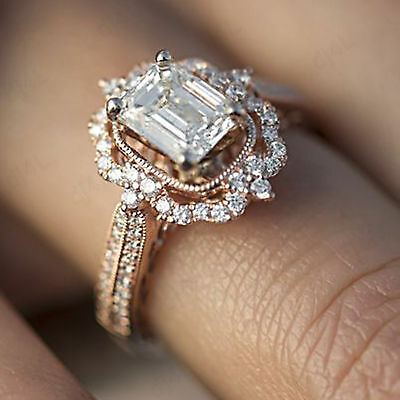 18k Rose Real Gold 2.50CT Emerald Cut Diamond Halo Vintage Style Engagement  Ring